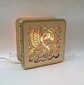 Соляной светильник деревянный Ангелок. Соляная лампа сыну дочке ребенку, новорожденному, на рождение, крестины