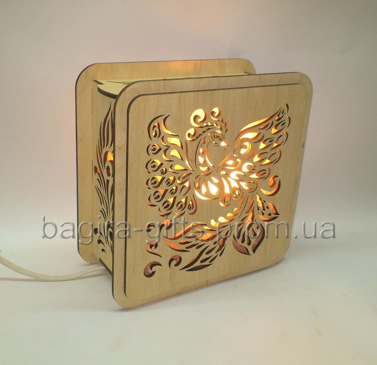 Соляной светильник Квадратный деревянный Жар птица
