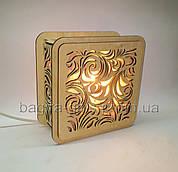 Соляний світильник Квадратний дерев'яний Листя