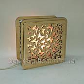 Соляной светильник Квадратный деревянный Бабочки