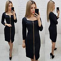 Платье со змейкой на всю длинну, арт.810,  цвет чёрный, фото 1