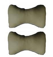 Автомобильная подушка на подголовник (2шт) кожа бежевая