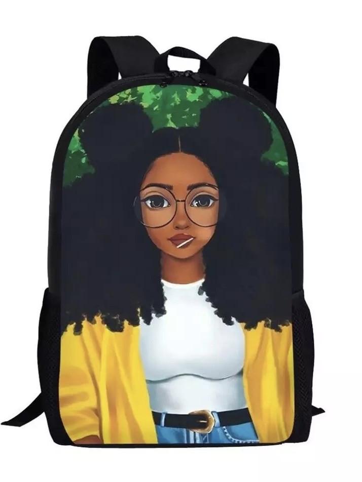 Рюкзак для девочки школьный с принтом афро девушка.