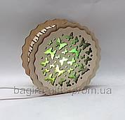 Соляний світильник дерев'яний Круглий Метелики