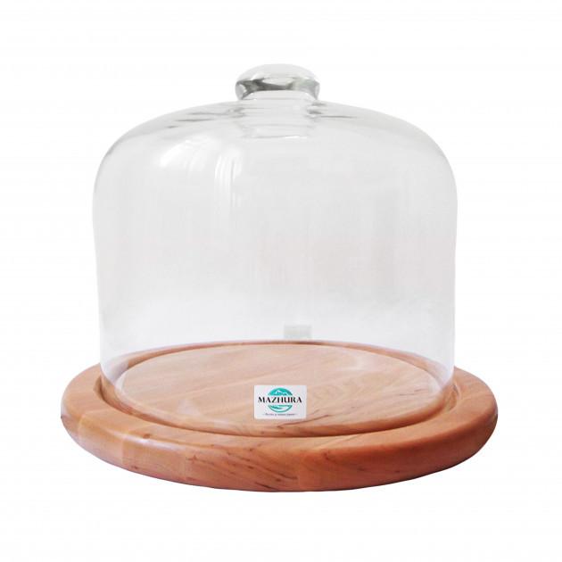 Тортовница деревянная со стеклянной крышкой d 28 см Mazhura CANDY BAR mz324211