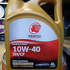 Полусинтетическое моторное масло idemitsu sae 10w 40 API SN.