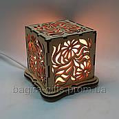 Соляний світильник Куб Квіти
