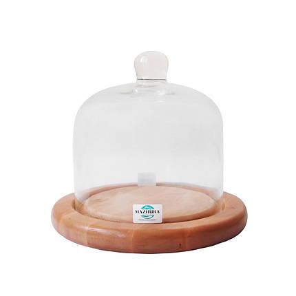 Тортовница деревянная со стеклянной крышкой d 19 см Mazhura CANDY BAR mz323619, фото 2