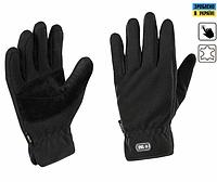 Зимние тактические флисовые перчатки с кожаными вставками цвет черный 90004002