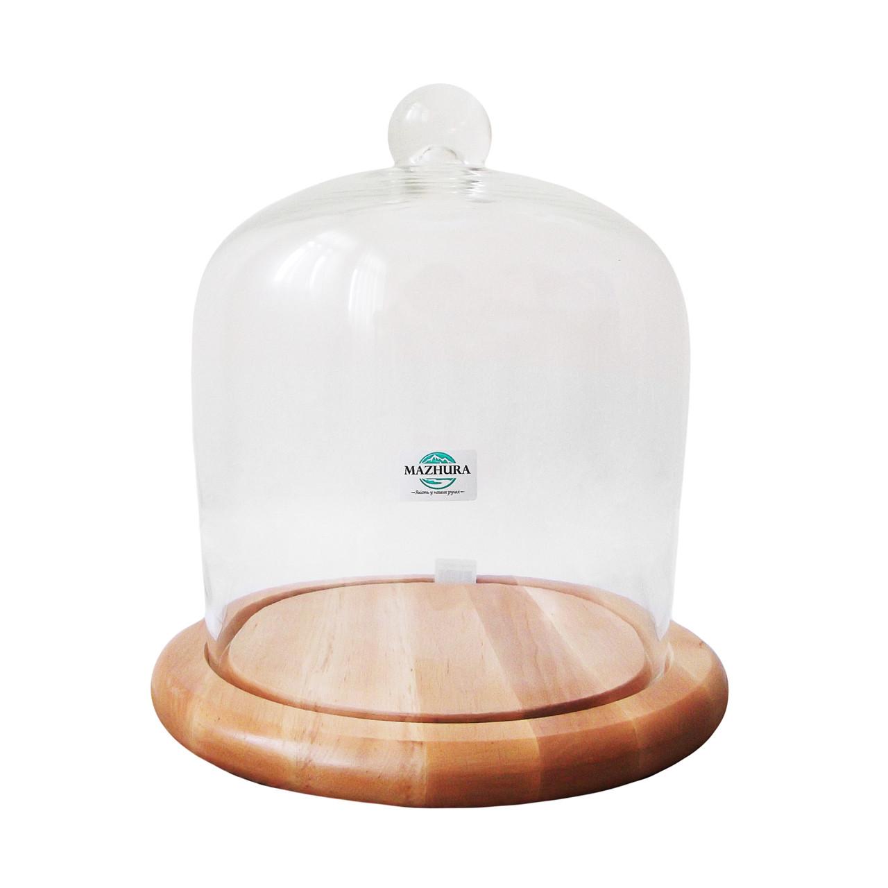 Тортовница деревянная со стеклянной крышкой d 24 см Mazhura CANDY BAR mz323617