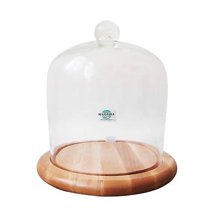 Тортовница деревянная со стеклянной крышкой d 24 см Mazhura CANDY BAR mz323617, фото 2