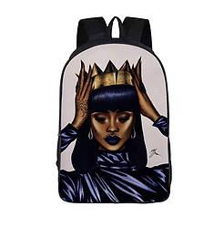Стильный женский тканевый рюкзак с арт принтом Африканка с короной