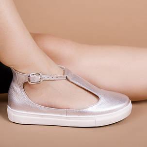 Туфлі жіночі Срібло натуральна шкіра Розміри 36-41, фото 2
