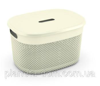 "Корзина для хранения с крышкой  KIS ""Filo Basket L"" (38х29х22 см) кремовая."
