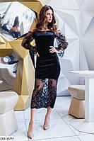 Вечернее красивое облегающее платье за колено из бархата с флоковым рисунком арт 5116