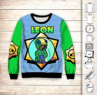 Світшот 3D Brawl Stars Leon Neon, фото 1