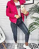 Жіноча демісезонна куртка з великим коміром, чорний, жовтий, блакитний, рожевий, малина, фото 4