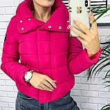 Жіноча демісезонна куртка з великим коміром, чорний, жовтий, блакитний, рожевий, малина, фото 5