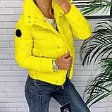 Жіноча демісезонна куртка з великим коміром, чорний, жовтий, блакитний, рожевий, малина, фото 6