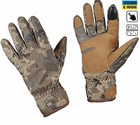 Зимние тактические флисовые перчатки с кожаными вставками цвет ММ14 90001030