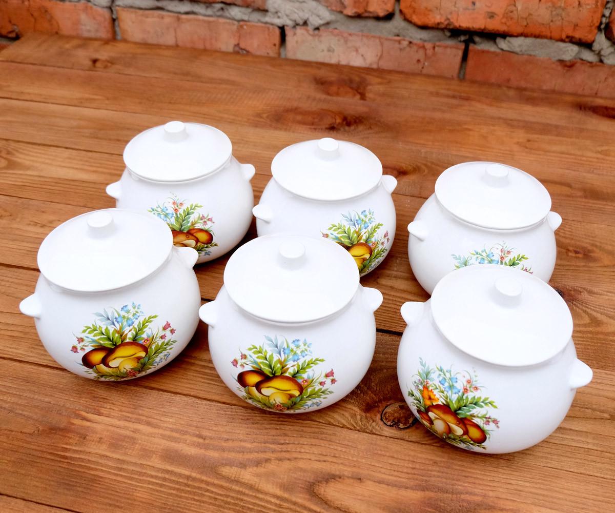 Горшочки для запекания в духовке 6 шт из керамики  600 мл белый гриб