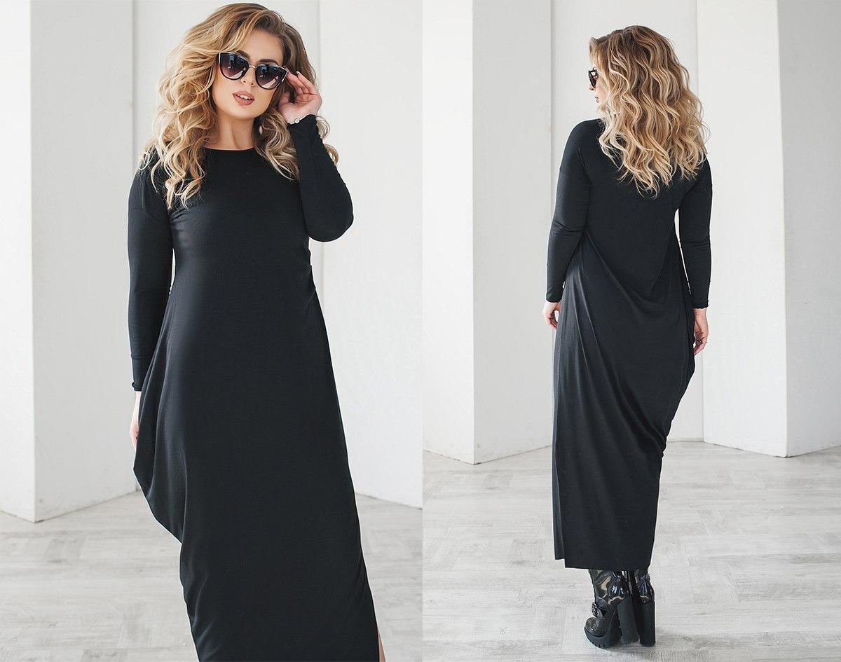 """Елегантне довге жіноче плаття у великих розмірах 2097 """"Максі Драпірування"""" в кольорах"""