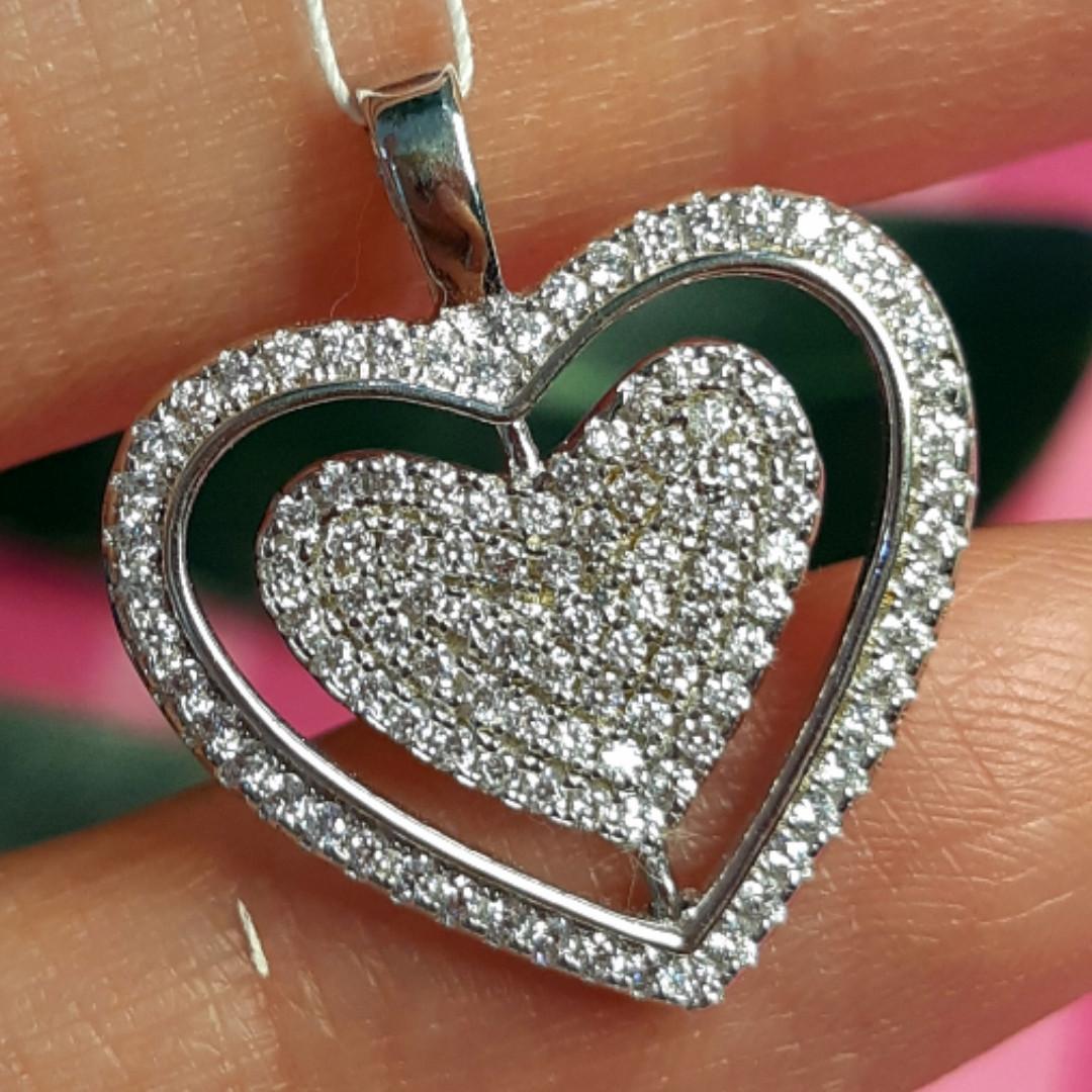 Серебряный кулон крутящееся Сердце - Кулон Сердечко из родированного серебра с фианитами