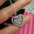 Серебряный кулон крутящееся Сердце - Кулон Сердечко из родированного серебра с фианитами, фото 6