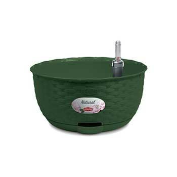 Stefanplast Вазон круглый подвесной Stefanplast NATURAL с автополивом и индикатором уровня воды зеленый (75613)