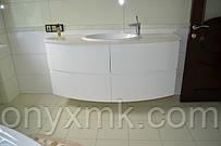 тумба радиусная в ванную комнату. фасады - МДФ лак глянцевый. фурнитура Blum