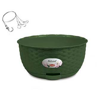 Stefanplast Вазон круглый подвесной Stefanplast NATURAL с автополивом зеленый (75512)