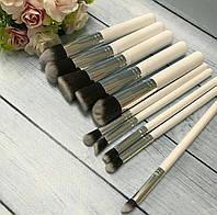 Профессиональный набор из 10 кистей для макияжа (БЕЛЫЙ-СЕРЕБРО), фото 1