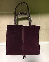 Женская замшевая с одной стороны и кожаная с другой стороны сумка очень хорошего качества