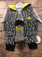 Комплект на мальчика  Tommy жилетка+кофта+штаны  арт 91014 Турция  12,18 мес