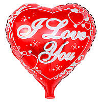 """Шар Сердце из фольги c надписью """"I love You"""" 45см"""