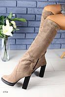 Демисезонные замшевые бежевые сапоги на удобном каблуке