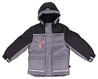 Зимняя термокуртка для мальчика Grey/Black, NANO, размеры 104-146, на рост 102-150 см