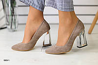 Женские туфли бежевые замшевые