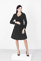 Черное женское шерстяное пальто с пышной юбкой