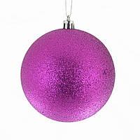Шар на елку фиолетовый глиттер Новогодько d-10 973203