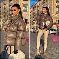 Куртка из эко кожи стильная трендовая короткая яркие цвета Gm1126