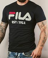Размеры 48/50/52. Мужская футболка Fila (Фила), 100 % хлопок - черная