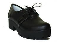 Туфли на платформе черная кожа/лак