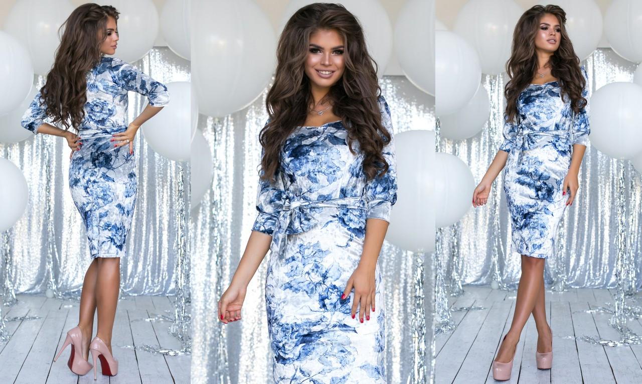"""Елегантне жіноче плаття 2075 """"Велюр Квіти Міді"""" в кольорах"""