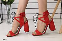 Женские велюровые босоножки на удобном каблуке 36