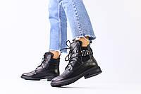 Ботинки черные кожаные на шнуровке зимние 36