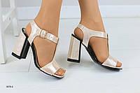 Женские кожаные босоножки на удобном каблуке 36