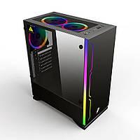 Корпус ATX 1STPlayer Black.Sir-B6 без вентиляторов 1*USB3.0 2*USB2.0  прозр. стенка чёрный новый