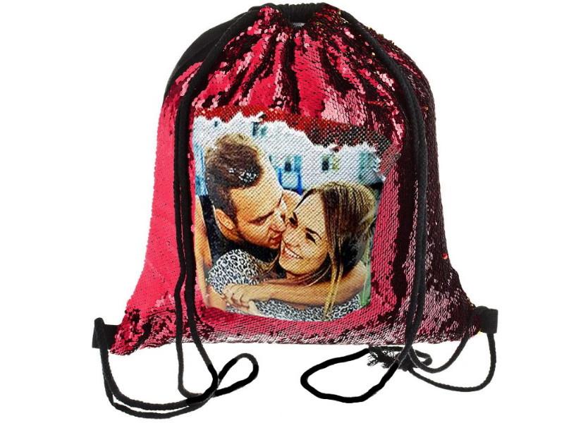 Рюкзак с красными паетками