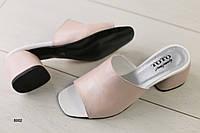 Женские сабо на каблуке, пудра кожа 36